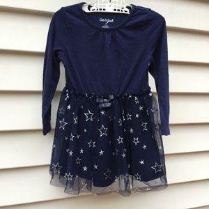 Cat & Jack Dress Blue Stars Glitter 3T Tulle